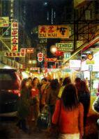 Shopping Tsim Sha Tsui - Watercolour And Ink Paintings - By Julia Patience, Realism Painting Artist
