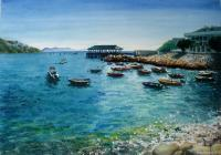 Stanley Bay On A Clear Day - Watercolour And Ink Paintings - By Julia Patience, Realism Painting Artist
