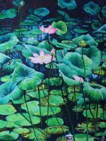 Flower Paintings - The Lotus Pond - Watercolour And Ink