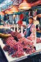 Cityscapes - The Grape Seller Yau Ma Tai Hong Kong - Watercolour And Ink