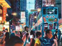 Cityscapes - Trams In Wanchai Hong Kong - Watercolour And Ink