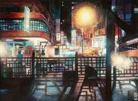 Cityscapes - Temple Street Kowloon - Watercolour And Ink