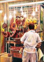 Cityscapes - The Cooked Meat Seller Hong Kong - Watercolour And Ink