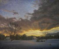 Field At Dusk - Oil On Linen Paintings - By Will Kefauver, Representational Painting Artist