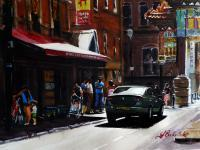 Manchester China Town - Water Colour Paintings - By Joseph Broderick, Impressionistic Painting Artist