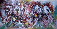 Horses - Gouache Paintings - By M V, Expression Painting Artist