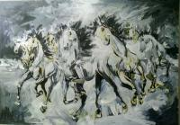 Animals - White Horses - Oil On Canvas