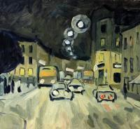 Moscow Landscapes - Lubjanka Street Moscow - Oil On Cardboard
