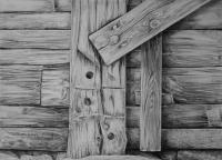 Detail Of Barn - Pencil Drawings - By Fred Hebing, Realism Drawing Artist