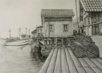 Orust Sweden 2 - Pencil Drawings - By Fred Hebing, Realism Drawing Artist