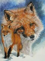 Beautiful Breeds - Wildlife - Cunning - Watercolor Enhanced Colored Pe