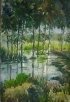 Water Field - Water Colour On Handmade Paper Paintings - By Shekhar De, Realistic Painting Artist
