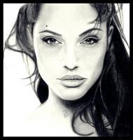 Pencil Drawings Of Famous Peop - Angelina Jolie Pencil Drawing - Pencil  Paper