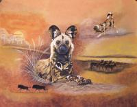 Wildlife - Wild Dogs At Sunset - Acrylic On Canvas Board