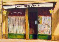 Cityscape - Cafe Des Amis II - Acrylic On Canvas