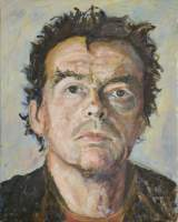 Self Portrait - Looking Up - Oil On Canvas Panel Paintings - By Peter Hobden, Impressionist Painting Artist