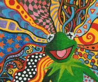 Kermit On Acid - Acryl Paintings - By Vesa Peltonen, Psychedelic Painting Artist