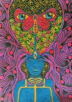 Butterfly Girl - Fluorescent Acryl Paintings - By Vesa Peltonen, Psychedelic Painting Artist