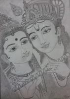 Religious - Radhekrishna - Pencil On Paper