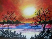 Landscapes - Storm At Sunset - Acrylics On Canvas