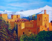 Landscape - Ahlambra De Granada - Oil  Imposto On Streched Canva