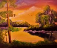 Landscape - A Hidden Paradise - Oil On Streched Canvas