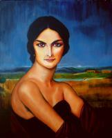 A Lady - Oil On Streched Canvas Paintings - By Manuel Sanchez, Impresionism Painting Artist
