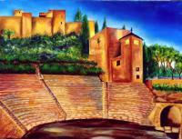 Landscape - Alcazaba  Roman Theatre - Oil On Streched Canvas