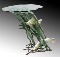 Cement - Seaweed  Fish Table - Cement Steel Glass