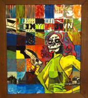 Foxy Brown Day Of The Dead - Acrylic Paintings - By Eric Rittenhouse, Baseball Card Upcycle Painting Artist