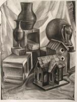 Still Life - Bird House - Charcoal On Paper