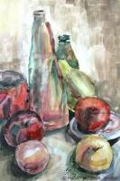 Still Life - Fruits And Bottles - Watercolor On Paper