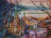 Landscape - View Over Budapest - Pastel On Paper