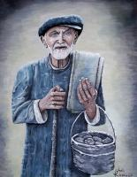 People - Old Man With His Stones - Acrylic On Canvas