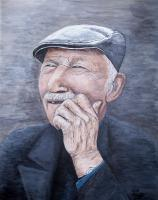 People - Laughing Old Man - Acrylic On Canvas