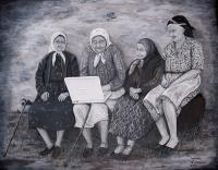 People - Old Ladies Computer Class - Acrylics On Wood