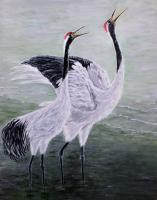 Singing Cranes - Acrylic On Canvas Paintings - By Judy Kirouac, Realism Painting Artist