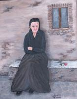 People - Old Woman Waiting - Acrylic On Canvas