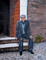 People - Old Man Waiting - Acrylic On Canvas