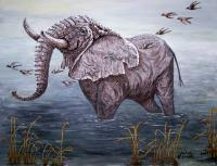 Wildlife - Old Elephant Bathing - Acrylic On Canvas