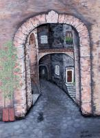 Places - Street In Scanno - Acrylic On Canvas