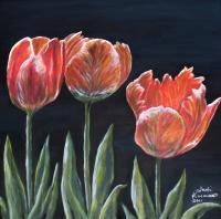 Nature - Red Tulips - Acrylic On Canvas