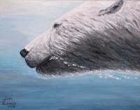 Wildlife - Polar Bear Splash - Acrylic On Canvas