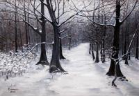 Nature - Forest Path In Winter - Acrylic On Canvas