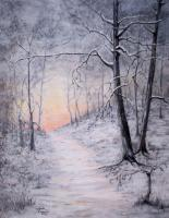 Nature - Winter Path At Sunset - Acrylic On Canvas