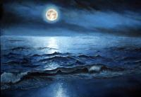 Realistic - Blue Nite - Oil Painting On Canvas