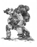 Illustrations - The Praying Soldier - Graphite Pencil