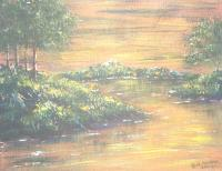 Landscape Water - River Sundown 2 - Acrylics