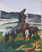 Ranch Life - Fighting Horses - Watercolor