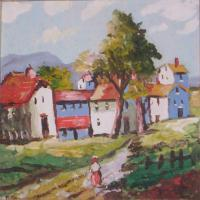 City And Town - Village Path - Oil